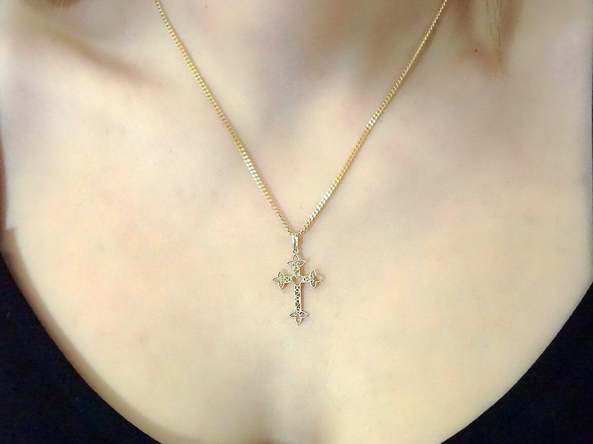 Σταυρός με Καρδιά Περίτεχνο Σχέδιο Χρυσός 14Κ Γυναικείος