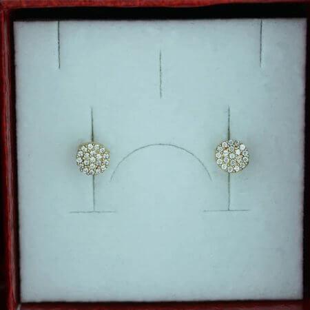 Χρυσά Καρφωτά Γυναικεία Σκουλαρίκια Ζιργκόν Πέτρες