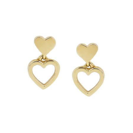 Χρυσά Καρφωτά Σκουλαρίκια Καρδιές 14 Καράτια