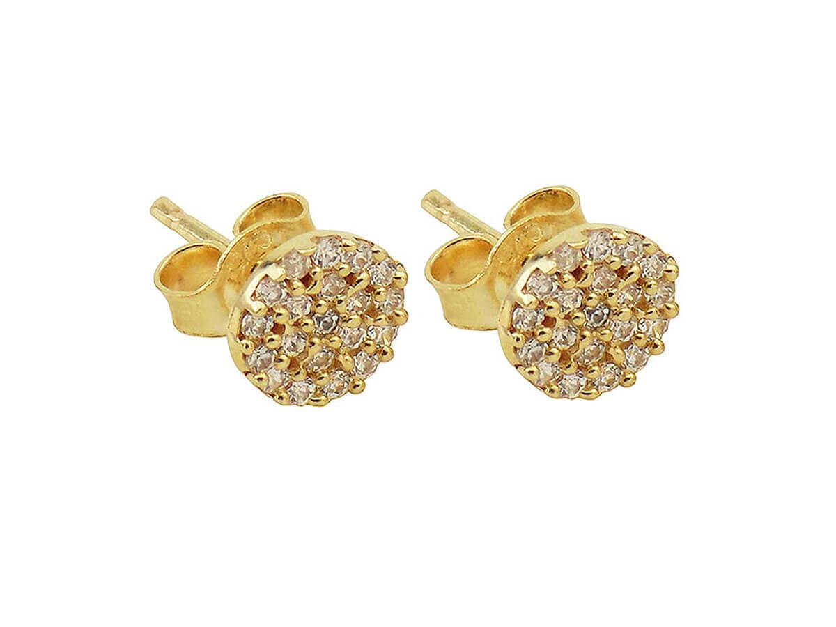 Χρυσά Σκουλαρίκια 14Κ Ροζέτες Λευκές Ζιργκόν Πέτρες Γυναικεία Καρφωτά