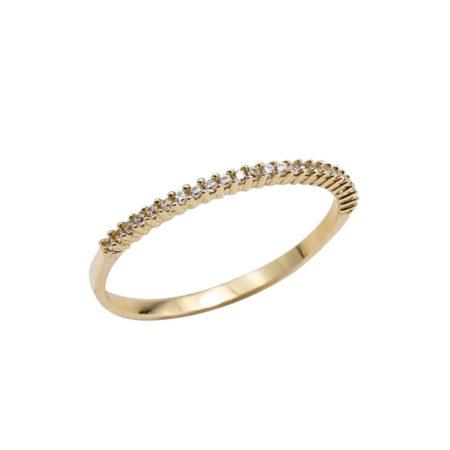 Χρυσό Δαχτυλίδι Μισόβερο 14 Καράτια Ζιργκόν