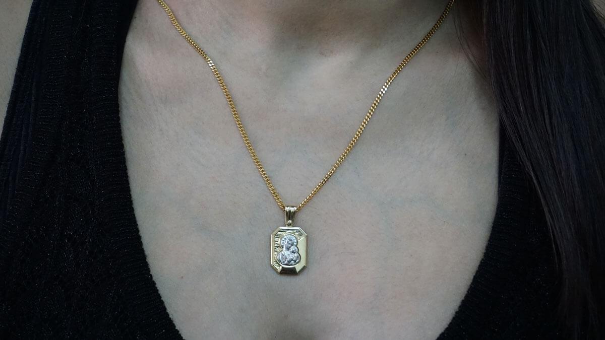 Χρυσό Φυλαχτό Λευκόχρυσο 9Κ Παναγίτσα Μενταγιόν Λαιμού Γυναικείο