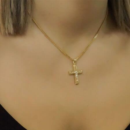 Εσταυρωμένος Χρυσός Σταυρός 14 Καράτια Βάπτιση