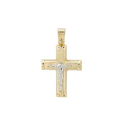 Χρυσός Σταυρός Για Βάπτιση Αρραβώνας Λευκόχρυσος Εσταυρωμένος 14Κ