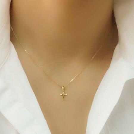 Μικρός Γυναικείος Χρυσός Σταυρός 14 Καράτια