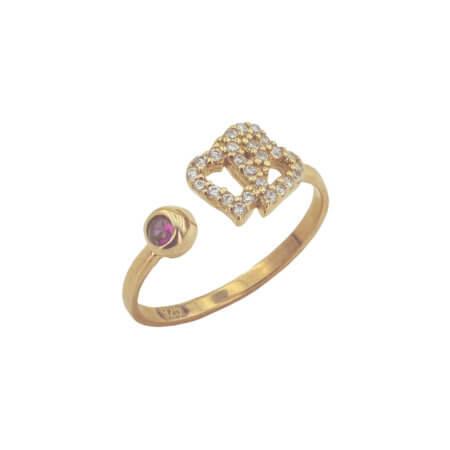 Δαχτυλίδι με Καρδιές Ζιργκόν Πέτρες Ασημένιο 925