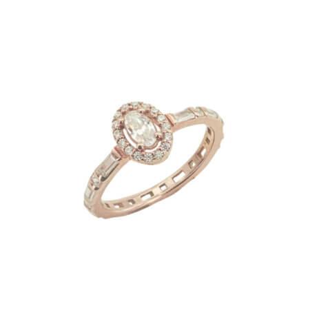 Δαχτυλίδι Ροζέτα Ροζ Επίχρυσο 925 Ασημένιο