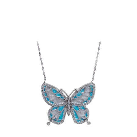 Ασημένιο Μενταγιόν Πεταλούδα με Ζιργκόν 925 Ασήμι Γυναικείο