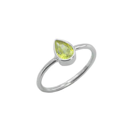 Δαχτυλίδι Δάκρυ με Κίτρινη Πέτρα Ζιργκόν Ασημένιο 925 Drop
