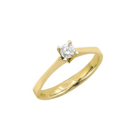 Χρυσό Δαχτυλίδι 18 Καράτια με Μπριγιάν Διαμάντι Γυναικείο