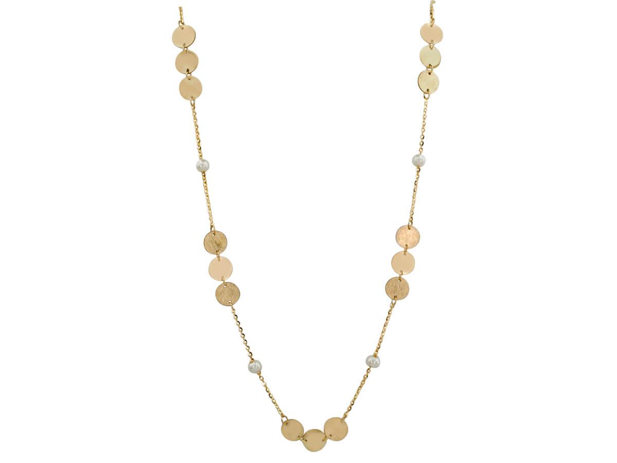 Χρυσό Κολιέ Γυναικείο Μοτίφ Μαργαριτάρια 9 Καράτια