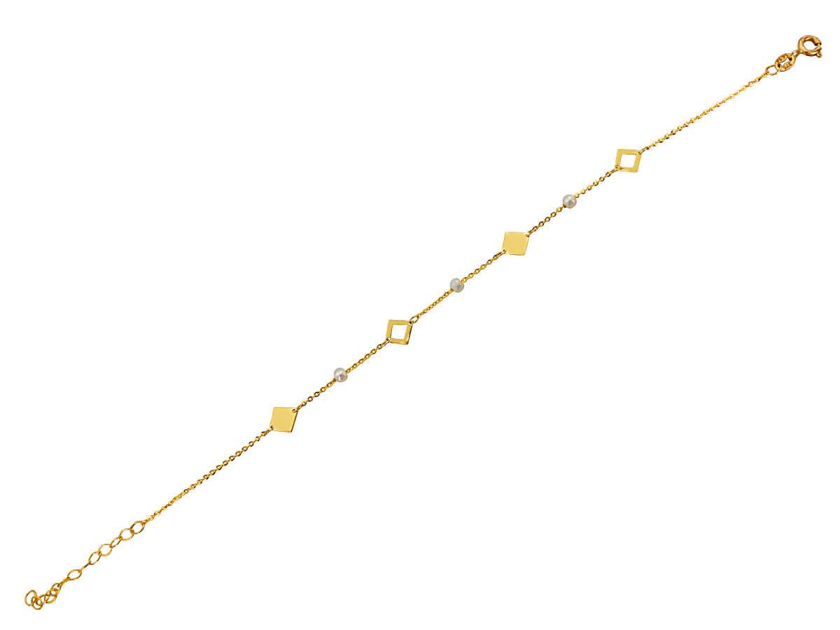 Γυναικείο Βραχιόλι Χρυσό με Μαργαριτάρια 9 Καράτια Μοτίφ