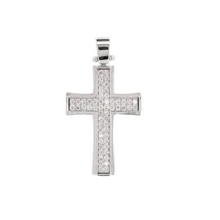 Γυναικείος Λευκόχρυσος Σταυρός 18 Καράτια Με Διαμάντια