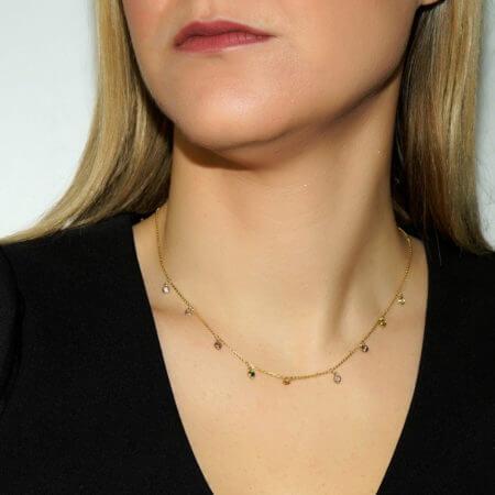 Γυναικείο Χρυσό Κολιέ 9 Καράτια με Τουρμαλίνες Πολύχρωμες Πέτρες