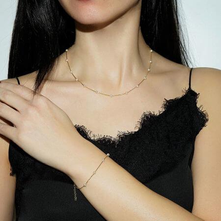 Γυναικείο Χρυσό Σετ Λευκά Μαργαριτάρια Κολιέ Βραχιόλι 9 Καράτια