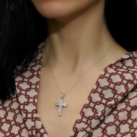 Γυναικείος Λευκόχρυσος Σταυρός 18 Καρατίων Brilliant