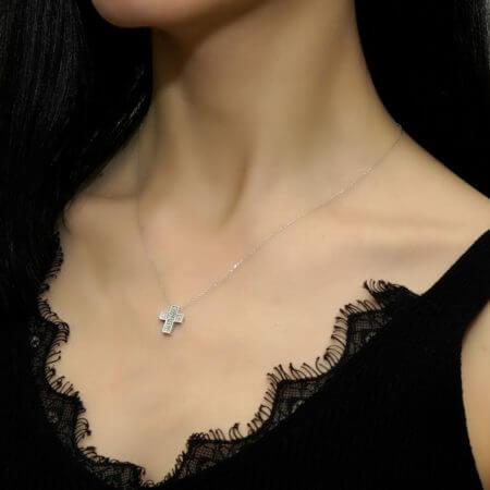 Γυναικείος Λευκόχρυσος Σταυρός Αλυσίδα 18 Καράτια Μπριγιάν