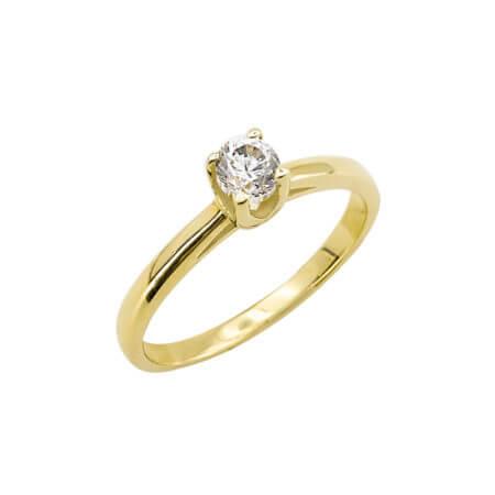 Κίτρινο Χρυσό Δαχτυλίδι 14 Καράτια Μονόπετρο