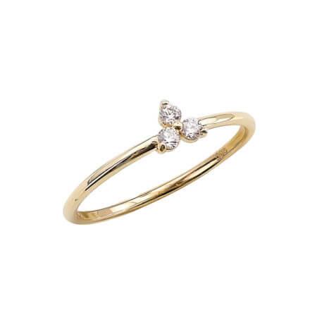 Κίτρινο Χρυσό Δαχτυλίδι Ζιργκόν Πέτρες 14 Καρατίων