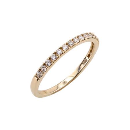 Κίτρινο Χρυσό Μισόβερο Δαχτυλίδι 14 Καράτια