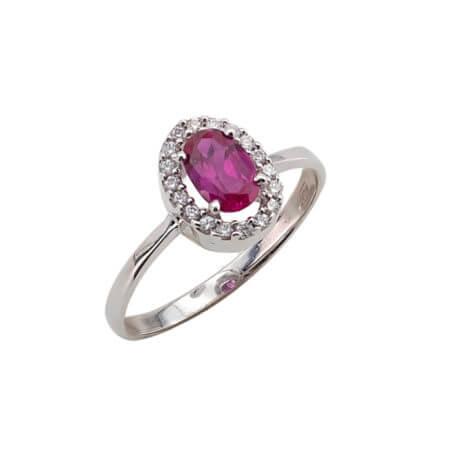 Λευκόχρυσο Δαχτυλίδι Ροζέτα 14 Καράτια Κόκκινη Πέτρα