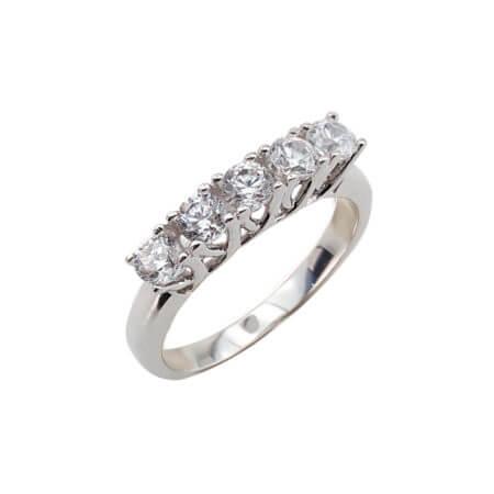 Λευκόχρυσο Δαχτυλίδι 14 Καράτια Σειρέ Ζιργκόν Πέτρες