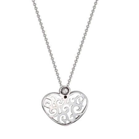 Λευκόχρυσο Μενταγιόν Brilliant Διαμάντι 18 Καράτια Καρδιά