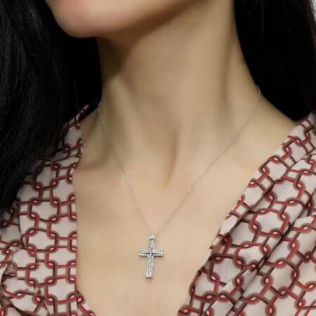 Λευκόχρυσος Γυναικείος Σταυρός 18 Καρατίων Μπριγιάν