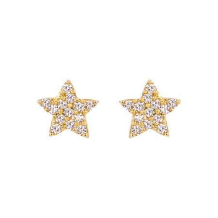 Παιδικά Σκουλαρίκια 9 Καράτια Αστεράκια Ζιργκόν Πέτρες
