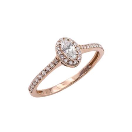 Ροζ Χρυσό Δαχτυλίδι Ροζέτα 14Κ Λευκές Ζιργκόν Πέτρες Γυναικείο