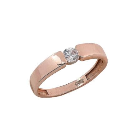 Ροζ Χρυσό Δαχτυλίδι 14 Καράτια Ζιργκόν Πέτρα