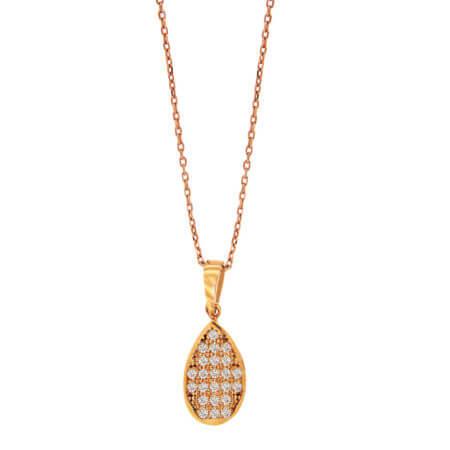 Ροζ Χρυσό Μενταγιόν Με Διαμάντια Μπριγιάν 18 Καράτια