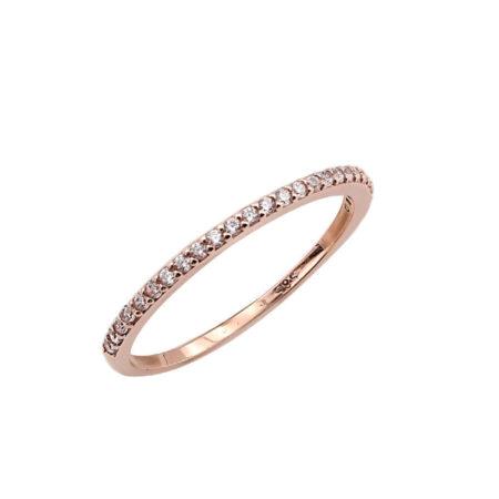 Ροζ Χρυσό Μισόβερο Δαχτυλίδι 14 Καράτια