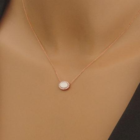 Ροζ Χρυσό Γυναικείο Κρεμαστό Ροζέτα 9 Καράτια Σμάλτο Λευκές Ζιργκόν Πέτρες