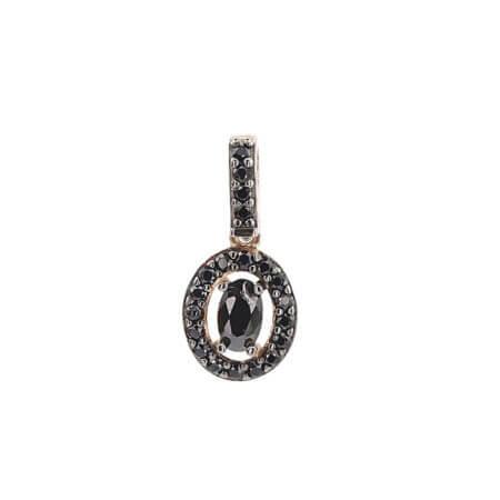 Μενταγιόν Ροζ Χρυσό 14Κ Μαύρες Ζιργκόν Πέτρες