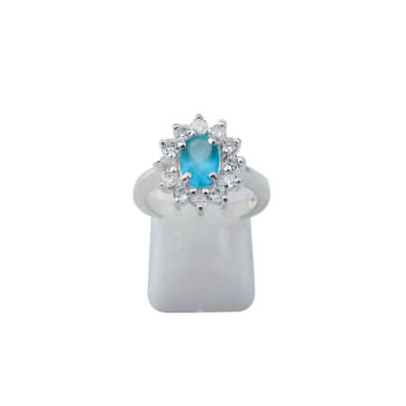 Γυναικείο Ασημένιο Δαχτυλίδι Ροζέτα 925 Λευκές Τιργκουάζ Ζιργκόν Πέτρες