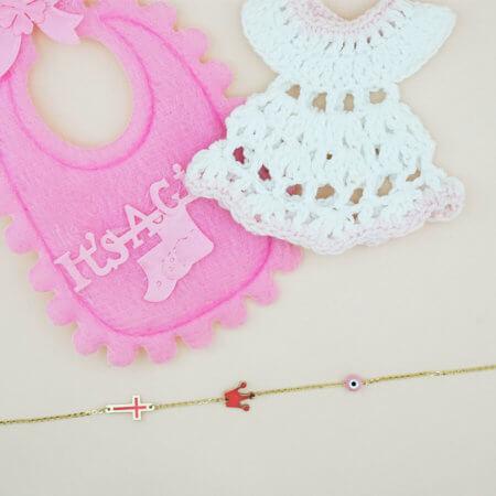 Βραχιόλι 9 Καράτια Χρυσό Κορώνα Ροζ Σταυρό Ματάκι Δώρο για Κοριτσάκι