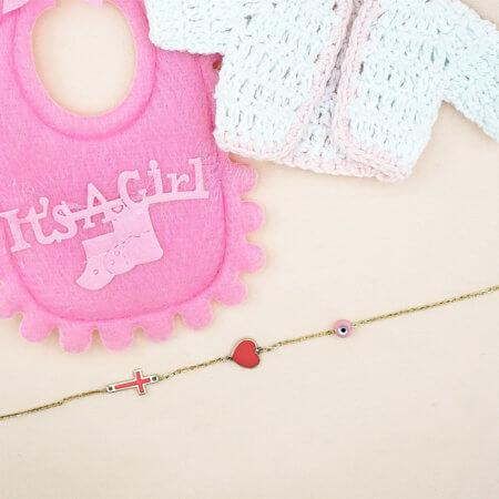 Βραχιόλι 9 Καράτια Χρυσό με Στοιχεία Ροζ Δώρο για Κορίτσια