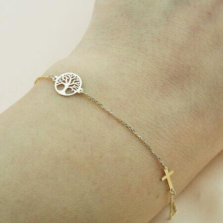 Χρυσό Βραχιόλι Δέντρο της Ζωής Σταυρουδάκι 9 Καράτια Γυναικείο