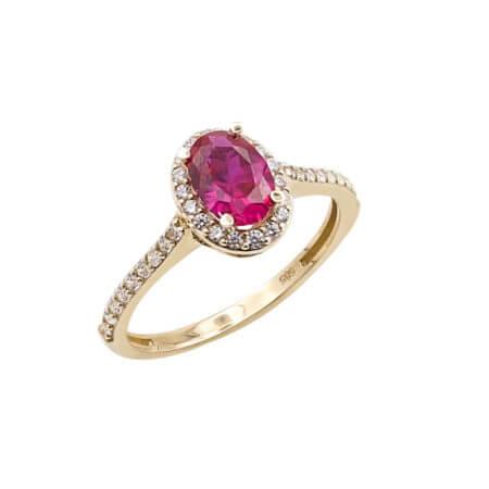 Χρυσό Δαχτυλίδι Ροζέτα 14 Καράτια Κόκκινη Ζιργκόν Πέτρα