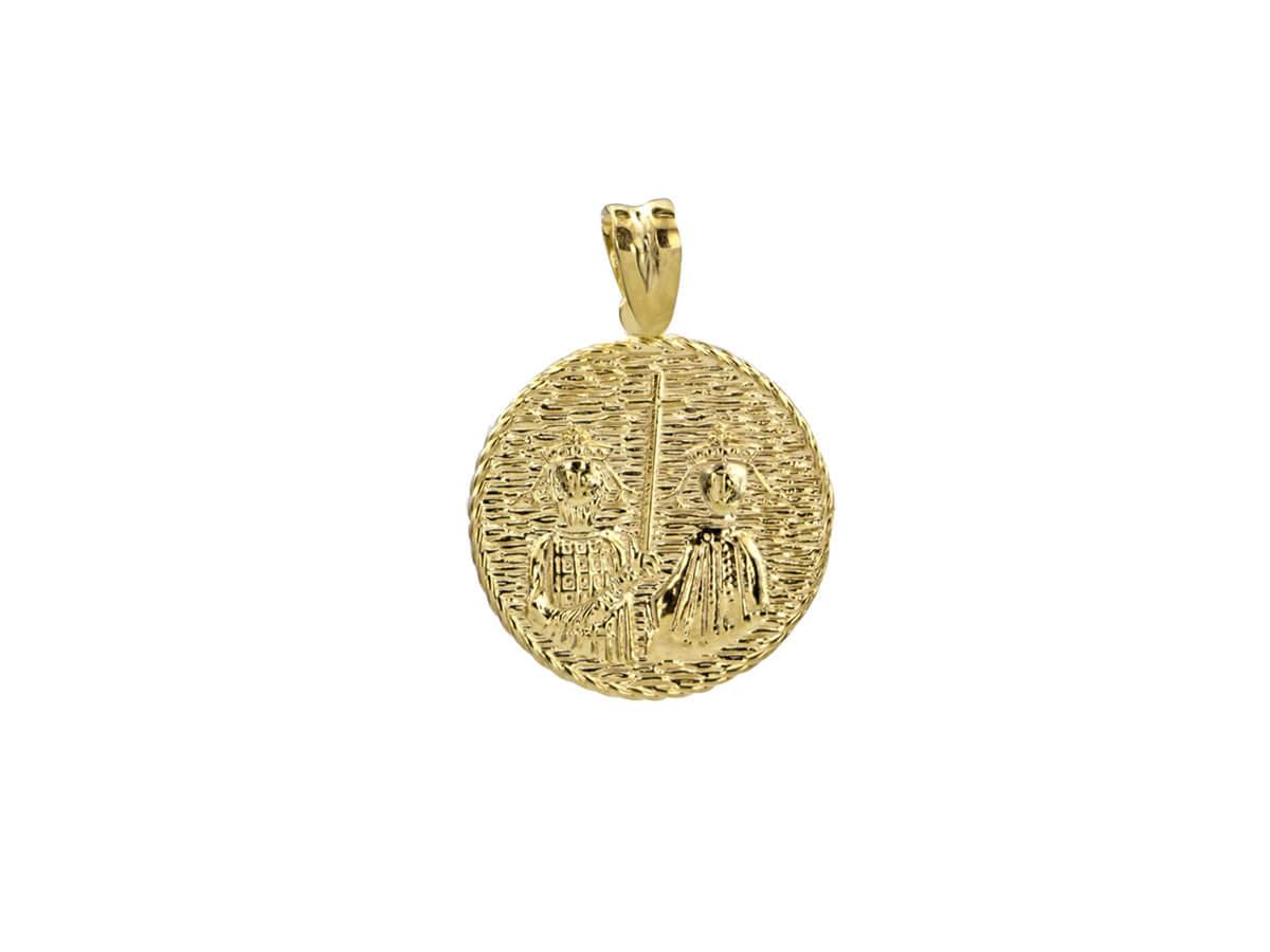 Χρυσό Φλουρί ΙΧΝΚ Διπλής Όψεως Ζιργκόν Πέτρες 9 Καράτια