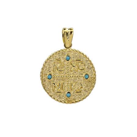 Χρυσό Φλουρί ΙΧΝΚ Γαλάζιες Ζιργκόν Πέτρες 9 Καράτια