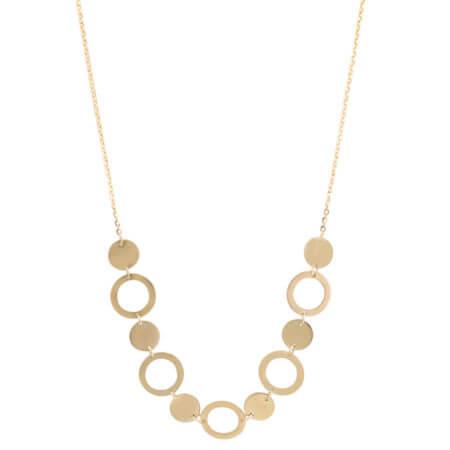 Χρυσό Κολιέ 9 Καράτια Με Κύκλους
