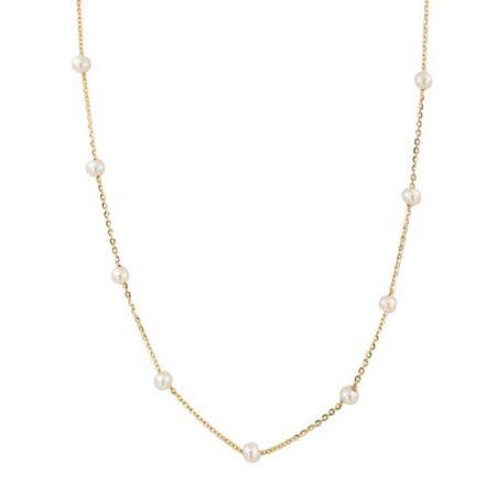 Χρυσό Κολιέ 9 Καράτια Λευκά Μαργαριτάρια