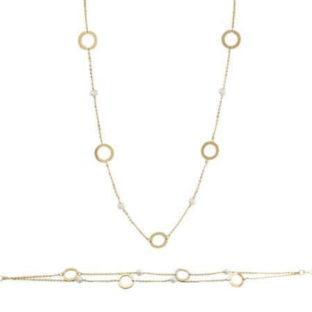 Χρυσό Σετ 9 Καράτια Μαργαριτάρια Κυκλικά Μοτίφ