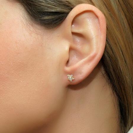 Χρυσά Παιδικά Σκουλαρίκια 9 Καράτια Αστεράκια Ζιργκόν Λευκές Πέτρες