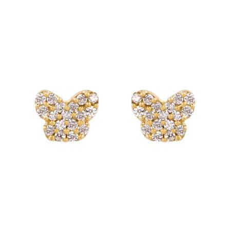 Χρυσά Παιδικά Σκουλαρίκια Πεταλούδες 9 Καράτια Με Ζιργκόν Πέτρες