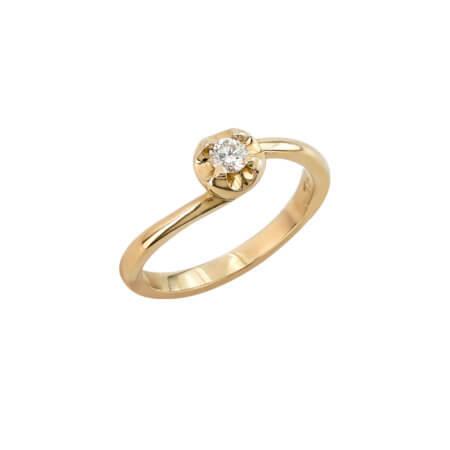 Χρυσό Δαχτυλίδι 18 Καράτια Διαμάντι Κοπής Μπριγιάν