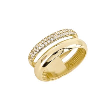 Χρυσό Διπλό Δαχτυλίδι 14 Καράτια Με Ζιργκόν