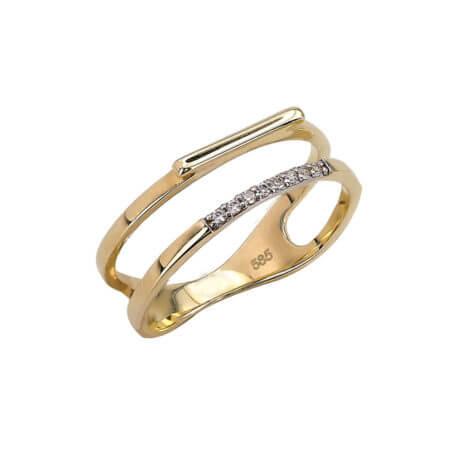 Χρυσό Διπλό Δαχτυλίδι 14 Καράτια Με Ζιργκόν Πέτρες Λευκές Γυναικείο